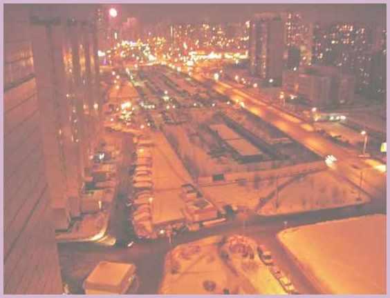 Район Митино. Вид из окна дома 19 по Митинская улице в Москве  1 января 2006 года